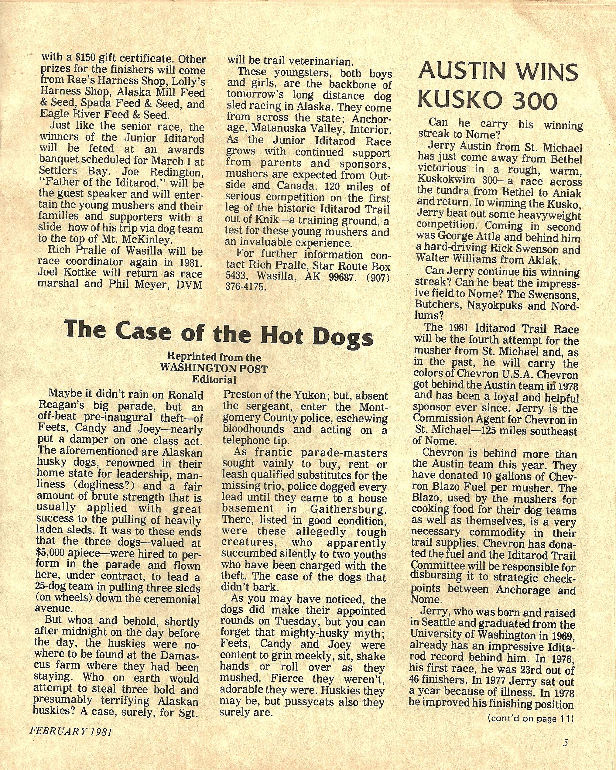 Jr. Iditarod Article, Pages 4 and 5 from the 1981 February Runner